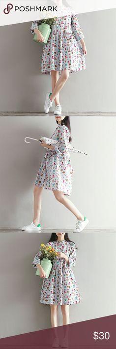 Lovely Dress Brand new. Hedgehog & Little coati embrroidered  Sizes: M/L/XL/2XL  Bust: 96/100/104/108cm  Shoulder: 39/40/41/42cm  Sleeve: 55/56/57/58cm  Length: 90/91/92/93cm Dresses Maxi