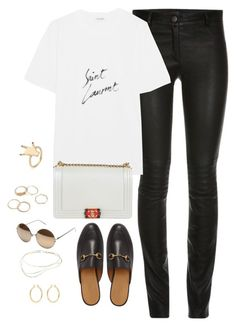 """""""Untitled #4178"""" by magsmccray ❤ liked on Polyvore featuring ElleSD, Yves Saint Laurent, Chanel, Gucci, Linda Farrow, Isabel Marant and Elsa Peretti"""