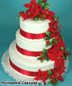 Beautiful Christmas wedding cake idea