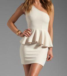 Elegant One Shoulder Sleeveless White Peplum Dress