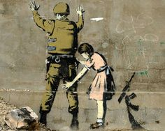Girl Searching a Soldier Banksy Wallpapers