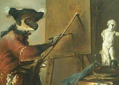 It's tacky! It's weird! Yes, Jean-Baptiste Chardin's The Monkey Painter is definitely not what you would consider in good taste. Art With Meaning, Funny Greetings, Best Artist, Great Artists, Art History, Monkey, Weird, Louvre, Painting