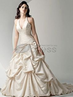 Luxurious Halter Beads Working Applique V-Neck Pleated Taffeta Chapel Train Wedding Dress V Neck Wedding Dress, Luxury Wedding Dress, 2015 Wedding Dresses, Sweetheart Wedding Dress, Formal Dresses For Weddings, Designer Wedding Dresses, Wedding Gowns, Wedding Designers, Backless Wedding