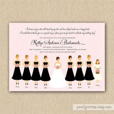 bridesmaids luncheon invitation customize colors by poofyprints