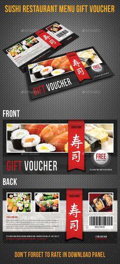 Sushi Restaurant Menu Gift Voucher Template #design #print Download: http://graphicriver.net/item/sushi-restaurant-menu-gift-voucher-04/12002906?ref=ksioks