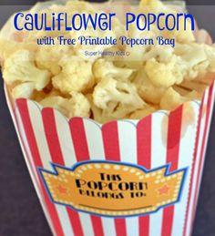 Prepare it raw or roasted, kids will surely enjoy this healthy cauliflower popcorn! Cauliflower Popcorn: Fun and Healthy Snack. Give us cauliflower and we'll give you popcorn! Super Healthy Kids, Healthy Snacks For Kids, Healthy Treats, Cauliflower Popcorn, Cauliflower Recipes, Cauliflower Benefits, Running Food, Healthy Chips, Vegetarian Recipes