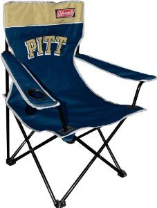 NCAA Pittsburgh Panthers Coleman Folding Chair With Carrying Case by Coleman. $25.00. 16mm powder coated steel frams. Features screen print team logo on front and back with embroidered coleman logo. Comes with team logo carrying case. 225lb Weight rating. Features built in mesh cup holder. NCAA Pittsburgh, Univ. of Broadband Quad Chair