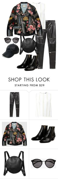 """""""Untitled #1792"""" by itsmeischoice on Polyvore featuring Zara, MSGM, Gucci, AZI, Monki, Yves Saint Laurent, Vianel, women's clothing, women and female"""