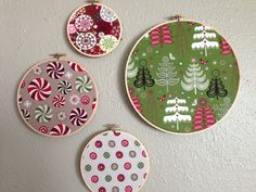 Modern Christmas Wall art - Set of 4 fabric hoops on Etsy, $20.00....super easy to diy
