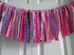 Pink-Purple Fabric Bunting Girls Nursery Decor by backyardprims