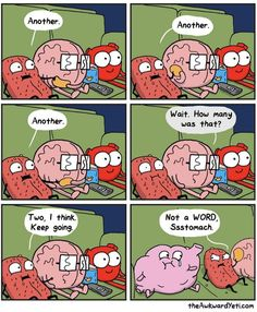Heart And Brain Comic, The Awkward Yeti, Akward Yeti, Z Toon, Funny Comic Strips, Medical Humor, All The Things Meme, Picture Story, Science Humor