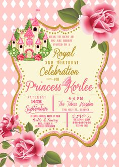 Vintage royal celebration princess party invitation-  twin baby girl Shower or  sisters Birthday invite diy print file