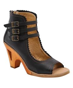 Another great find on #zulily! Black Tululah Buckled Leather Pump #zulilyfinds