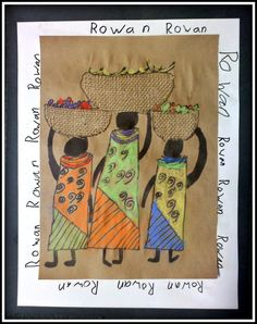 PLATEAU ART STUDIO - African Line Art. Step by step simple instructions, add designs, cut out burlap for baskets, and color with chalk pastels. Think I'd add something a bit different for the frame - but I love it! African Art For Kids, African Art Projects, African Crafts, African American Art, Kindergarten Art Projects, 2nd Grade Art, Art Terms, Africa Art, Preschool Art