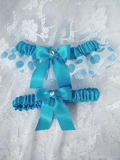 White And Turquoise Polka Dots Organza And Satin by DeluxeGarter, $20.00 Reception Ideas, Wedding Reception, Wedding Ideas, Polka Dots, Satin, Turquoise, Future, Trending Outfits, Unique Jewelry