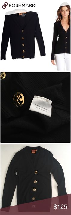Tory Burch Wool Cardigan Black Tory Burch Cardigan In Excellent Pre Owned Condition. 100% Wool. Tory Burch Sweaters Cardigans