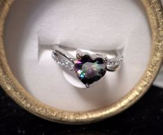 womens size 9 rainbow topaz heart ring 925 sterling silver