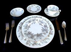 MidCentury Wedgwood Bone China Place Settings for 12: Ashford Grey #W4106 – Vintage Wedding Dinnerware by SusabellaBrownstein on Etsy