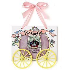 Princess Carriage Name Plaque. Cute idea for baby shower.