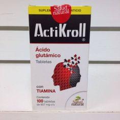 Tabletas Actikroll, suplemento alimenticio que por contener acido glutamico como su componenete principal, auxilia al fortalecimiento de la memoria, un buen desempeño mental y a mejorar la concentracion.