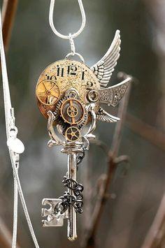 Lord of Time Key by *KeypersCove on deviantART - Steampunk Steampunk Mode, Style Steampunk, Steampunk Fashion, Fashion Goth, Steampunk Gloves, Key Jewelry, Cute Jewelry, Jewelery, Jewelry Ideas