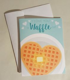 Valentine's Day Card I Love You a Waffle Lot by DaisyPrintCompany L Love You, My Love, Star Children, Printing Companies, Your Message, Waffles, Valentines Day, Stationery, Greeting Cards