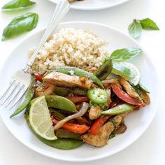 Thai Basil Chicken Stir Fry loaded with tons of fresh vegetables. A quick and easy one skillet meal that takes less than 30 minutes to make!