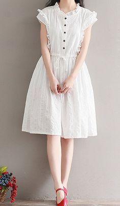 Women loose fitting over plus size white cotton dress button skirt fashion chic … – Plus Size Fashion Trendy Dresses, Women's Fashion Dresses, Skirt Fashion, Casual Dresses, Hijab Casual, Fashion Shoes, Fashion Clothes, Fashion Fashion, Women's Dresses