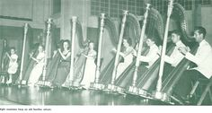 Harpists practice inside the Music Building 1948. From the 1948 Oregana (University of Oregon yearbook). www.CampusAttic.com
