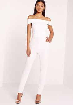 28 Chic Spring Bridal Shower Outfits To Get Inspired: off the shoulder white jumpsuit and a pair of heels is perfect choice