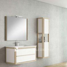 Mueble de baño Air de 80cm con estructura fresno 80/ cajones ártico 81+ Espejo Air 80cm + Lavabo Dune cerámico 80cm