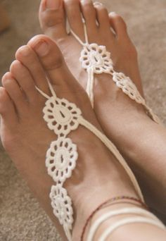 HOLIDAY SALE Crochet Barefoot Sandals- Flower Child - Organic tatted Lace crochet SEXY Yoga Belly Dance Beach bare foot jewelry shoes