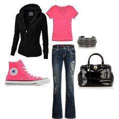 simple pink and black