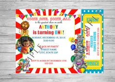 Circus Themed Birthday Invitation Carnival by TwoAngelsDesigns