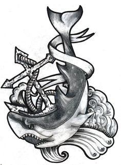 Shark & anchor tattoo design by Daniel Vane need to add gills may be my new piece.