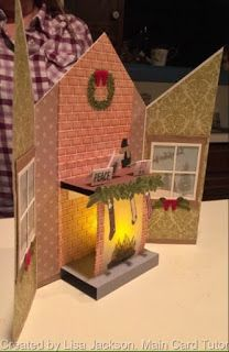 The Craft Spa - Stampin' Up! UK independent demonstrator : Pop Up Festive Fireplace Tea-Light Card by Lisa Jackson