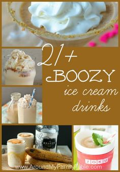 Boozy Alcoholic Ice Cream Drinks - Around My Family Table boozy alcoholic ice cream drinks that will make the heat bearable. These drinks are sure to please the kid in you, while still satisfying the grown-up, too! Party Drinks, Fun Drinks, Yummy Drinks, Cocktail Drinks, Yummy Food, Beverages, Refreshing Cocktails, Frozen Desserts, Frozen Treats