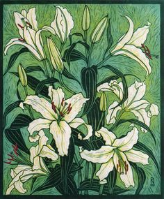 ORIENTAL LILY 28 X 22 CM EDITION OF 50 PIGMENT PRINT FROM A REDUCTION LINOCUT ON HANDMADE JAPANESE PAPER $850