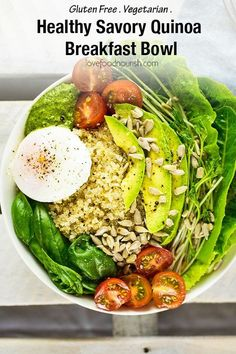 Healthy Savory Quinoa Breakfast Bowl with Poached Egg, Avocado & Pesto. A delicious gluten free breakfast salad full of greens and good nutrition that will get you going for the day! Gluten Free Recipes For Breakfast, Best Vegetarian Recipes, Best Gluten Free Recipes, Gluten Free Breakfasts, Brunch Recipes, Real Food Recipes, Cooking Recipes, Healthy Recipes, Avocado Pesto