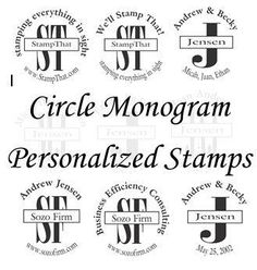 New personalized monogram stamps - great for on party favors, stamping the inside of a book with your name, address stamp . . . . so many ideas!