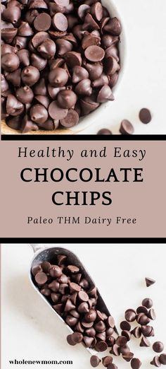 Easy Dairy Free Vegan Chocolate Chips which are perfect for homemade cookies, muffins and pancakes. These tasty chocolate chips are great for Paleo and THM diets. Homemade Chocolate Chips, Vegan Chocolate, Chocolate Recipes, Paleo Dessert, Healthy Baking Substitutes, Baking Substitutions, Dairy Free Recipes, Paleo Recipes, Easy Recipes