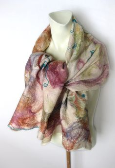 Felted Scarf Wool Silk Multicolor Floral Embroidery via Etsy