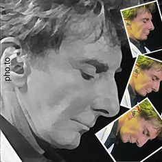 Barry Manilow black and white and color.