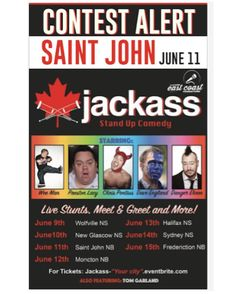 psst MONCTON 24 HOUR CONTEST . Who wants to go to the Jackass Canada stand up comedy tour?!! Im giving away a pair of tickets for EVERY STOP OF THE TOUR!!! This one is a little different than usual so comment under the photo of the tour stop you want tickets for. ( This is also happening on @halifaxnoise if you have friends in NS or a reallllly into jackass)  the show is @iamwean @daveenglandshoot @chrispontius @dangerehren etc . Here's how the contest works: . 1. Follow @NOISENB on…