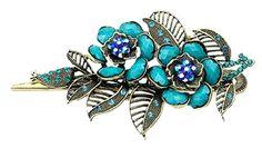 niceeshop(TM) Retro Stil Rose Mit Blatt Haarspangen Haar Clips (Bronze und Hell Blau) - http://schmuckhaus.online/niceeshop/bronze-und-hell-blau-niceeshop-tm-retro-stil-rose