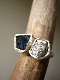 Engagement Ring with Rough Diamond and Rough Blue by metalmorphoz, $275.00