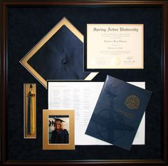A really cool composition of graduation memorabilia brought together in a fantastic custom frame design!