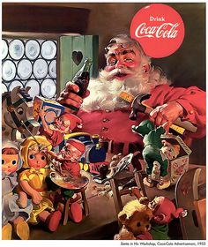 1953 Coca Cola advery - Santa with hammer and drink
