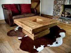 Medium size of easy diy pallet furniture plans garden table modern woodwork dreams rustic architectures excellent Rustic Square Coffee Table, Log Coffee Table, Coffee Table Plans, Unique Coffee Table, Coffee Table Design, Diy Holz, Rustic Furniture, Furniture Ideas, Pipe Furniture