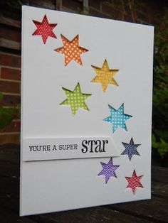 handmade congrats card from Craft-E-Place: Stars, stars, stars . negative space die cut stars backed with tiny print papers in bright colors . clean and simple look of one layer . Handmade Birthday Cards, Greeting Cards Handmade, Simple Handmade Cards, Rainbow Card, Star Cards, Cricut Cards, Congratulations Card, Card Sketches, Paper Cards